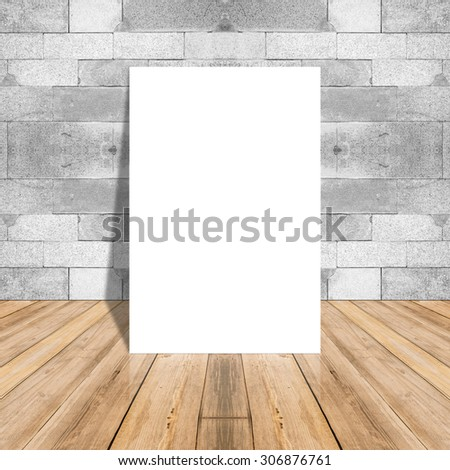 Blank white paper poster on plank wooden floor and pattern marble wall,Template mock up for adding your design