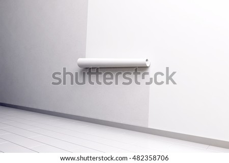 Blank white paper roll hanging on the wall mockup, side view, clipping path, 3d rendering. Paperhanging wallpaper mock up. Home decoration tapestry scroll template. Blanket canvas in the room interior