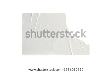 Blank white paper sticker label isolated on white background with clipping path #1356092312