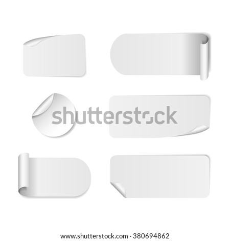 Blank white paper stickers isolated on white background. Round, square and rectangular sticker template. Sale and Clearance stickers and banners. Big Sale promotion. Blank white Sticker Templates #380694862