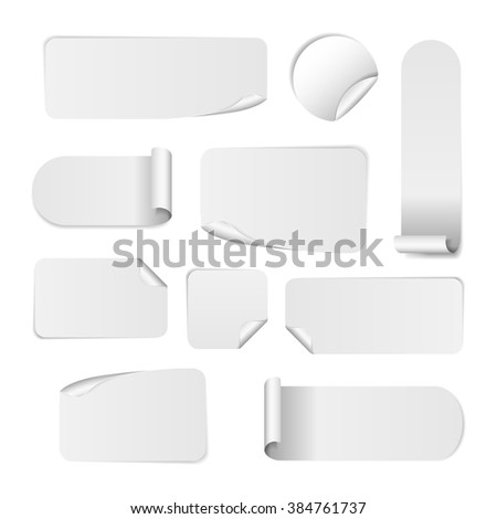 Blank white paper stickers isolated on white background. Round, square and rectangular sticker template. Sale and Clearance  banners. Big Sale promotion.  #384761737