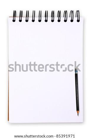 Blank white paper tablet on white background