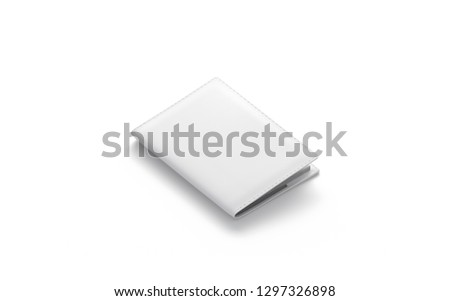 Blank white passport cover mock up, isolated, 3d rendering. Empty case for document mockup, side view. Clear international pasport template. Leather jacket for identity control.