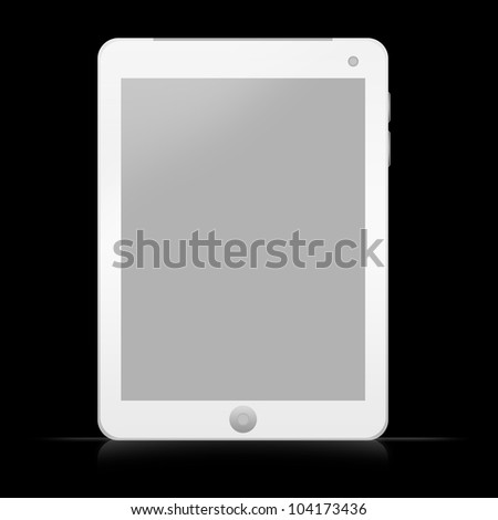 Blank White Pearl Tablet PC Isolate on Black Background