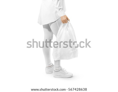 Blank white plastic bag mockup holding hand. Woman hold space carrier sac mock up. Disposable bagful branding template. Shopping carry package in persons arm. Promotional packet for logo branding.