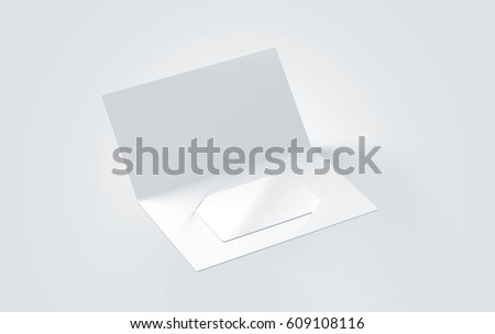 Blank white plastic card mockup inside paper booklet holder, 3d rendering. Clear loyalty program folded brochure with certificate mock up. Customer loyal booklet envelope template.