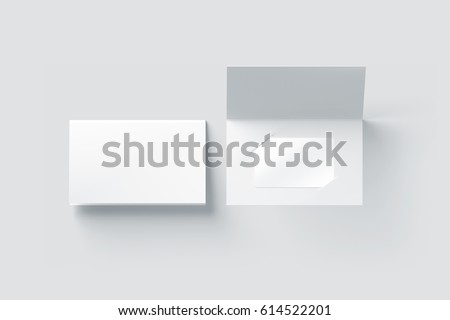 Blank white plastic card mockup inside paper booklet holder, top view, 3d rendering. Clear loyalty program folded brochure with certificate mock up, opened and closed. Customer loyal booklet envelope.