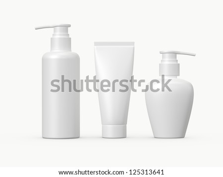 Blank white plastic cosmetic products template, isolated on white background.