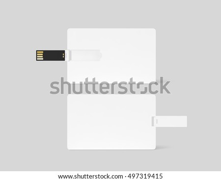 Blank white plastic wafer usb card design mockup, front, back side view, 3d rendering. Visiting flash drive namecard mock up. Call-card disk souvenir presentation. Credit stick adapter.
