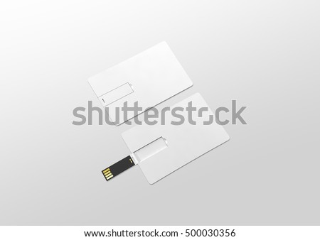Blank white plastic wafer usb card mockup lying, opened and closed, clipping path, 3d rendering. Visiting flash drive namecard mock up. Debit card disk souvenir. Flat wallet credit stick adapter.