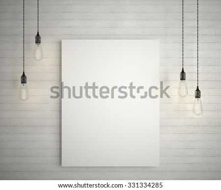 Blank white poster on brick wall hanging under decorative vintage light bulbs.