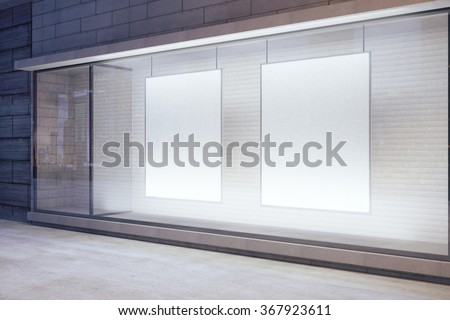 Blank white posters in the window on night empty city street, mock up 3D Render #367923611