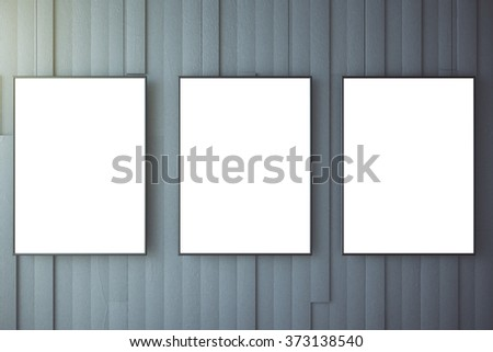 Blank white posters on grey wall, mock up 3D Render Foto stock ©