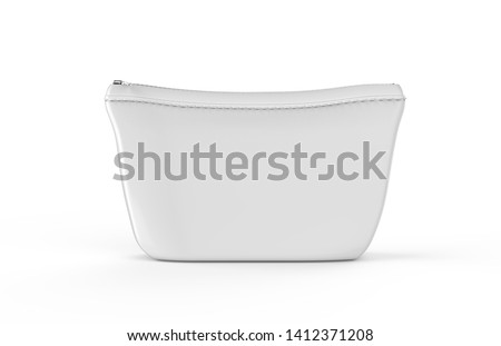 Blank white pouch for cosmetics mock up on isolated white background, empty linen beautician bag with zip mock up template, 3d illustration