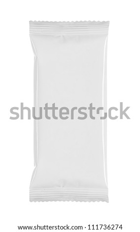 blank white product packaging on white background