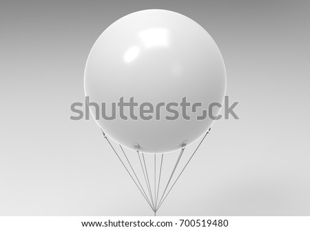 Blank white promotional outdoor advertising sky giant inflatable PVC helium balloon flying in sky for mock up and template design. 3d render illustration.