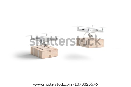 Blank white quadrocopter with box mock up, stand and flies isolated, side view, 3d rendering. Empty drones with parcel mockup. Clear quadrotor for delivery or shooting template. Foto stock ©