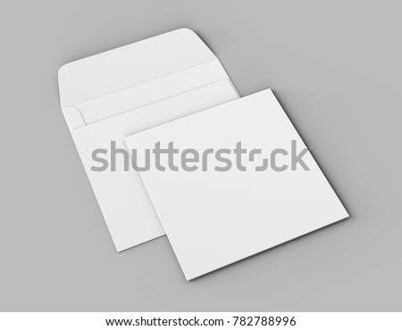 Blank white realistic square straight flap envelopes mock up. 3d rendering illustration.