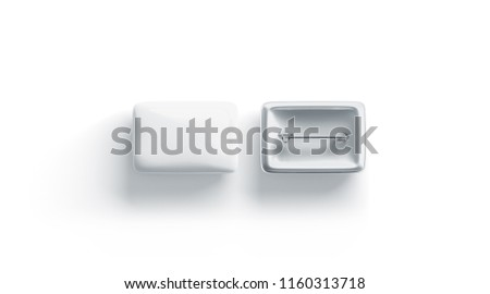 Blank white rectangular badge mockup, front and back side, isolated, 3d rendering. Empty clear pin emblem mock up top view. Oblong plastic volunteer label template.