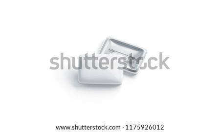 Blank white rectangular badge stack mockup, front and back side, 3d rendering. Empty clear pin emblem stack mock up front view, isolated. Square plastic volunteer label template.