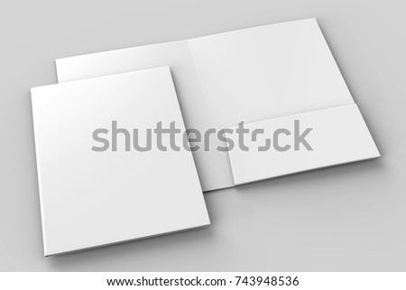 Blank white reinforced A4 single pocket folder catalog on grey background for mock up. 3D rendering.
