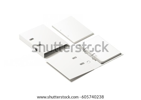 Blank white ring binder folder design mockup, 3d rendering. Self-binder mock up with stack of a4 paper. Office supply cardboard folder branding presentation. Desk lever arch file cover template.