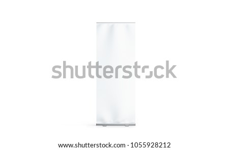Blank white roll-up banner display mockup, isolated, 3d rendering. Clear rollup baner design mock up, front view. Empty roller sign board template stand.