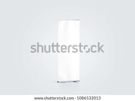 Blank white roll-up banner display mockup, side view, 3d rendering. Empty rollup baner design mock up on gray background. Clear roller sign board template stand