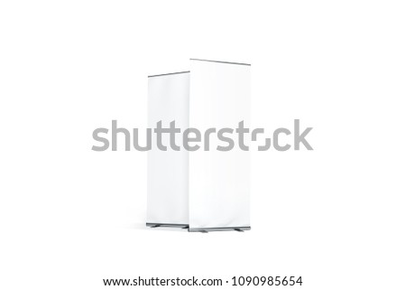 Blank white roll-up banner front and side set display mockup, isolated, 3d rendering. Clear rollup baner design mock up. Empty roller sign board template stand.