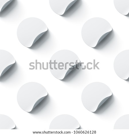 Blank white round adhesive stickers mock ups seamless pattern with curl corners, 3d rendering. Empty circle sticky label mockup with fold. Clear tileable patern for glass door or wall.