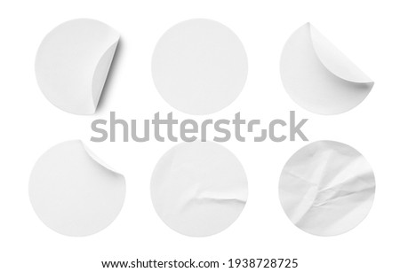 Blank white round paper sticker label set collection isolated on white background Stockfoto ©