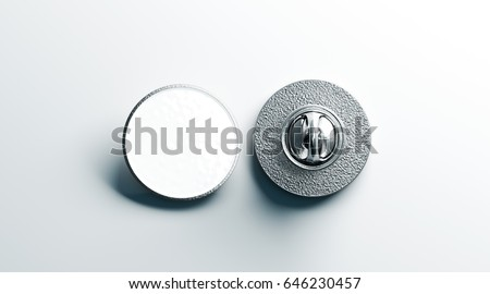 Blank white round silver lapel badge mock up, front and back side view, 3d rendering. Empty hard enamel pin mockup. Metal clasp-pin design template. Expensive curcular brooch for logo presentation ストックフォト ©