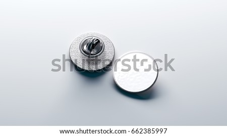 Blank white round silver lapel badge mockup, front and back side view, 3d rendering. Empty hard enamel pin mock up. Metal clasp-pin design template. Expensive curcular brooch for logo presentation ストックフォト ©