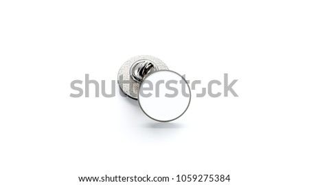 Blank white round silver lapel badge mockup stack, 3d rendering. Empty luxury hard enamel pin mockup. Clasp-pin design template. Expensive metal circular brooch for logo presentation ストックフォト ©
