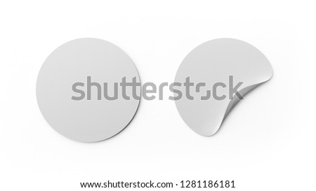Blank white round stickers or tag template isolated on white background. Mock up design. 3d abstract illustration. Empty circle labels. #1281186181