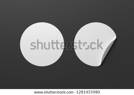 Blank white round stickers straightened and with folded corner on black background. With clipping path around stickers. 3d illustration. #1281455980