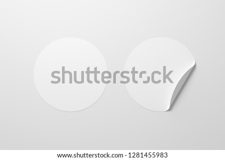 Blank white round stickers straightened and with folded corner on white background. With clipping path around stickers. 3d illustration. #1281455983