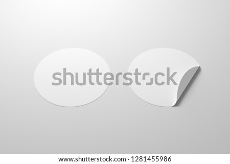 Blank white round stickers straightened and with folded corner on white background. With clipping path around stickers. 3d illustration. #1281455986