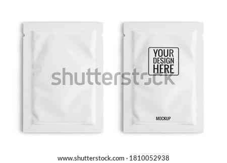 Blank white sachet packet isolated on white. Small pack sachet mockup. 3d rendering
