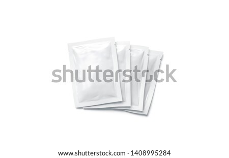 Blank white sachet packets stack mockup, isolated, top view, 3d rendering. Empty airtight pack mock-up for sauce, coffee, wet wipe, mayonnaise. Clear sealed bag with shampoo, cosmetic, gel, cream
