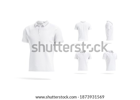 Blank white  shirt mockup, different views, 3d rendering. Empty casual fabric poloshirt for fashion outfit mock up, isolated. Clear casual or sport t-shirt outfit template.