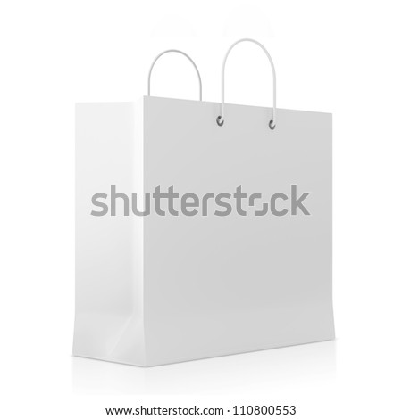 Blank White Shopping Bag isolated on white background