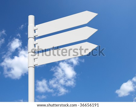 Blank white sign on a blue cloudy sky.