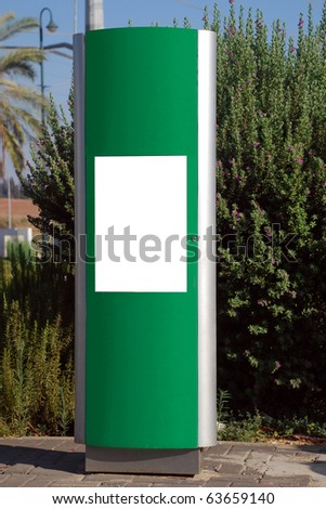 Blank white sign with a copy space area over a green stand
