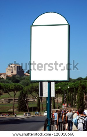 Blank white sign with a rectangle copy space area hanged on a pole