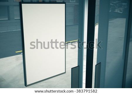 Blank white signboard on glassy wall of building, mock up, 3D render #383791582