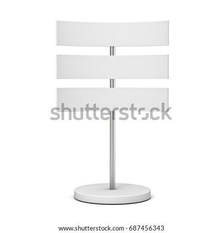 Blank white signboards with metal pole stand , blank mock up , signage boards or advertising billboard sign isolated on white background with shadow . 3D rendering.