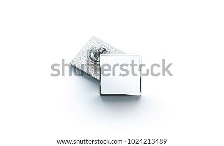 Blank white silver lapel badge mock ups stack, 3d rendering. Empty luxury hard enamel pin mockup. Metallic clasp-pin design template. Expensive square brooch for logo presentation. ストックフォト ©