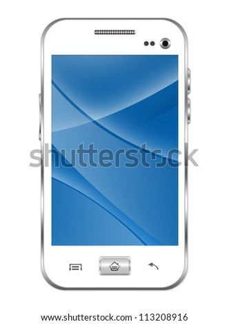 Blank White Smart Phone With Blue and Curve Line in The Screen Isolated on White Background