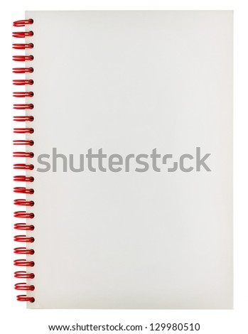 Blank white spiral notebook isolated on white background
